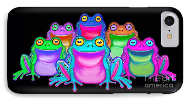 IPhone Case featuring the painting Colorful Froggies by Nick Gustafson