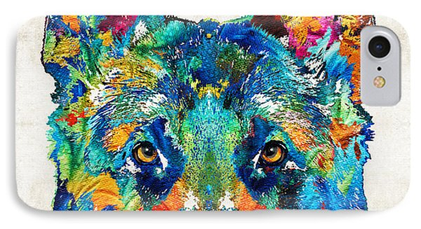 Colorful German Shepherd Dog Art By Sharon Cummings IPhone Case by Sharon Cummings