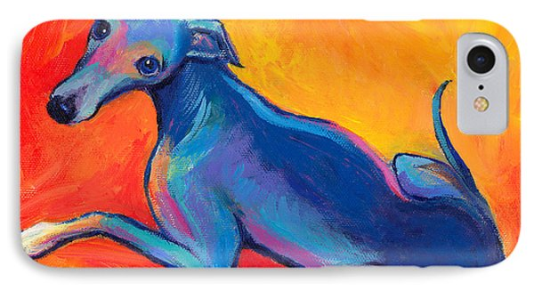 Colorful Greyhound Whippet Dog Painting IPhone Case by Svetlana Novikova