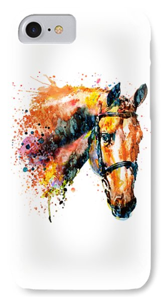 IPhone Case featuring the mixed media Colorful Horse Head by Marian Voicu