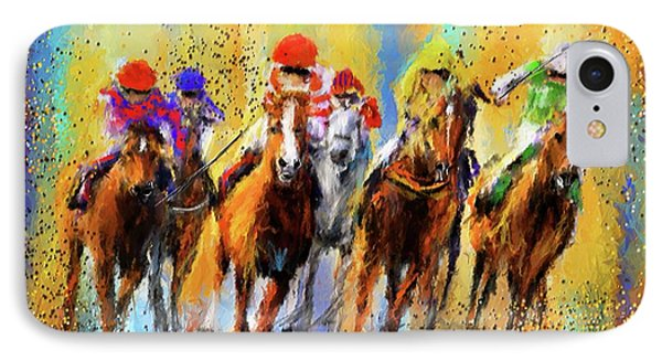 Colorful Horse Racing Impressionist Paintings IPhone Case by Lourry Legarde