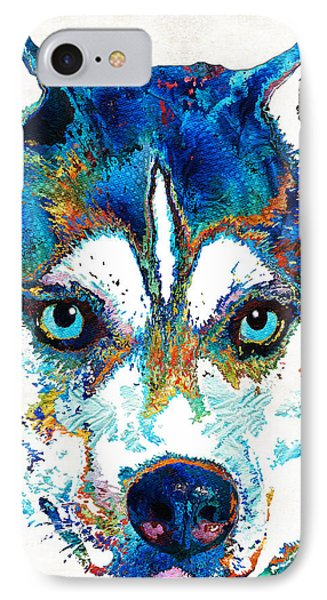 Colorful Husky Dog Art By Sharon Cummings IPhone Case by Sharon Cummings