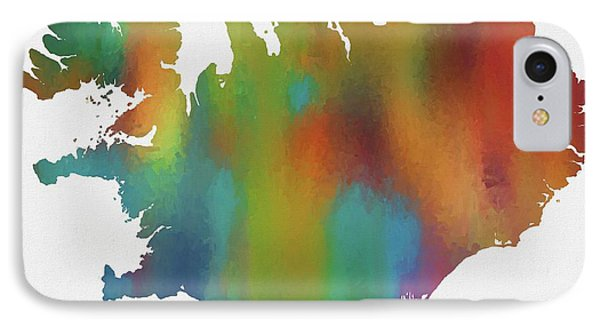 Colorful Iceland Map IPhone Case by Dan Sproul