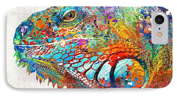 Colorful Iguana Art - One Cool Dude - Sharon Cummings IPhone Case by Sharon Cummings