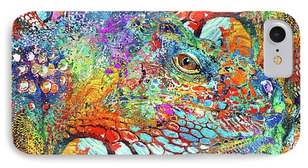 Colorful Iguana Art - Tropical Two - Sharon Cummings IPhone Case by Sharon Cummings
