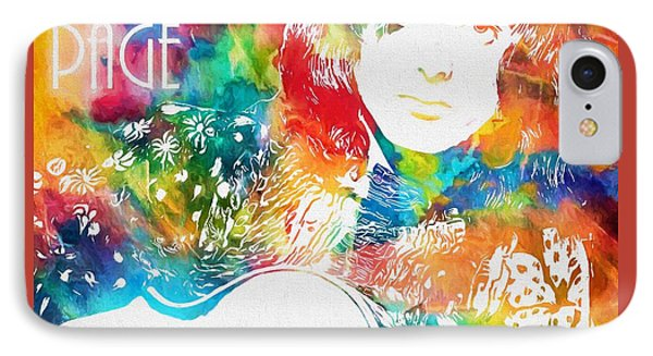 Colorful Jimmy Page IPhone Case by Dan Sproul