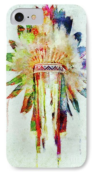 Colorful Lakota Sioux Headdress IPhone Case by Olga Hamilton