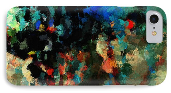 IPhone Case featuring the painting Colorful Landscape / Cityscape Abstract Painting by Ayse Deniz