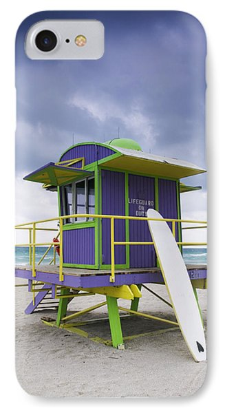 Colorful Lifeguard Station And Surfboard Phone Case by Jeremy Woodhouse