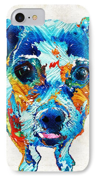 Colorful Little Dog Pop Art By Sharon Cummings Phone Case by Sharon Cummings