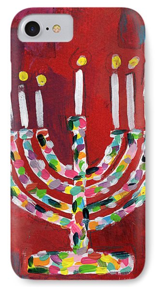 Colorful Menorah- Art By Linda Woods IPhone Case by Linda Woods