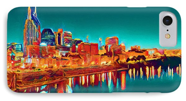Colorful Nashville Skyline Reflection IPhone Case by Dan Sproul