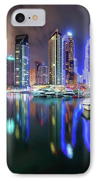 Colorful Night Dubai Marina Skyline, Dubai, United Arab Emirates IPhone Case