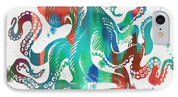 Colorful Octopus  IPhone Case by Dan Sproul