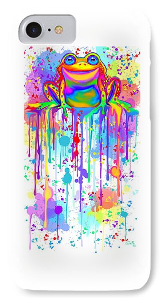 IPhone Case featuring the painting Colorful Painted Frog  by Nick Gustafson