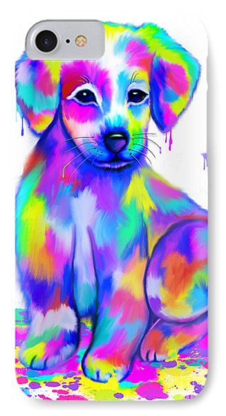 Colorful Painted Puppy IPhone Case by Nick Gustafson