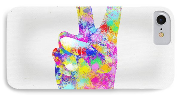 Colorful Painting Of Hand Point Two Finger Phone Case by Setsiri Silapasuwanchai