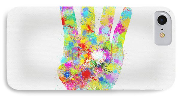 Colorful Painting Of Hand Pointing Four Finger Phone Case by Setsiri Silapasuwanchai