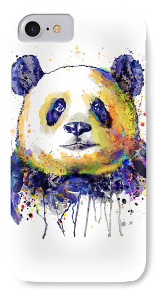 IPhone Case featuring the mixed media Colorful Panda Head by Marian Voicu