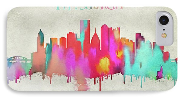 Colorful Pittsburgh Skyline Silhouette IPhone Case