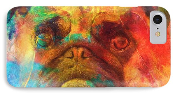 Colorful Pug IPhone Case by Dan Sproul