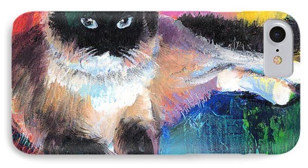 Colorful Ragdoll Cat Painting Phone Case by Svetlana Novikova