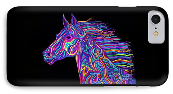 IPhone Case featuring the drawing Colorful Rainbow Stallion  by Nick Gustafson