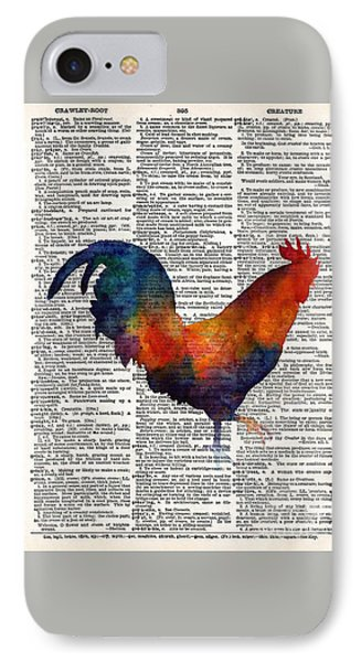 Colorful Rooster On Vintage Dictionary IPhone 7 Case by Hailey E Herrera