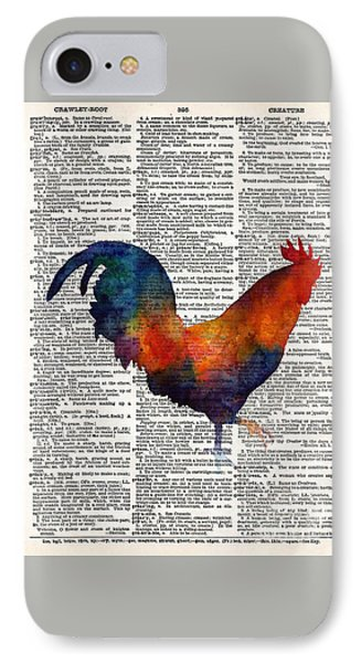 Colorful Rooster On Vintage Dictionary IPhone Case by Hailey E Herrera