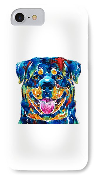 Colorful Rottie Art - Rottweiler By Sharon Cummings IPhone Case by Sharon Cummings