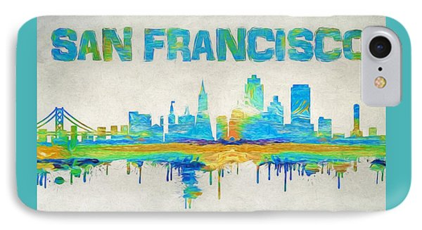 Colorful San Francisco Skyline Silhouette IPhone Case