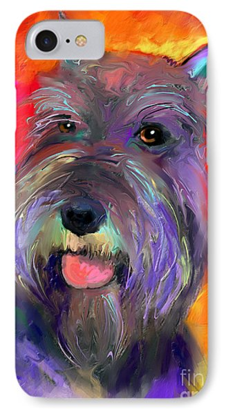 Colorful Schnauzer Dog Portrait Print IPhone Case