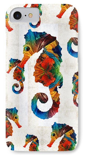 Colorful Seahorse Collage Art By Sharon Cummings IPhone Case by Sharon Cummings