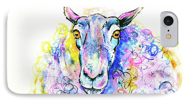 IPhone Case featuring the painting Colorful Sheep by Zaira Dzhaubaeva