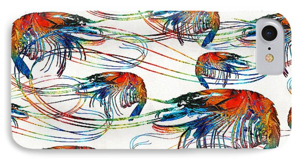 Colorful Shrimp Collage Art By Sharon Cummings IPhone Case