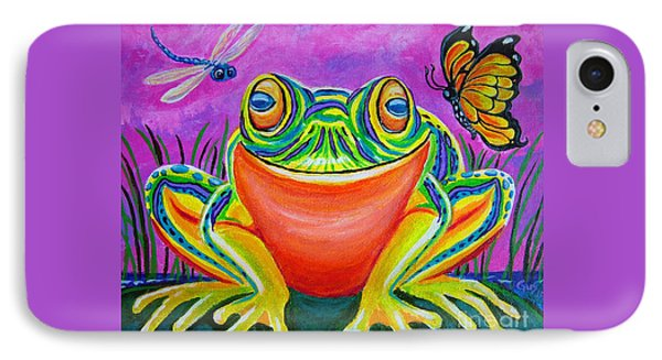 Colorful Smiling Frog-voodoo Frog Phone Case by Nick Gustafson
