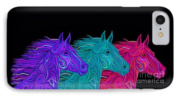 IPhone Case featuring the drawing Colorful Stallions  by Nick Gustafson