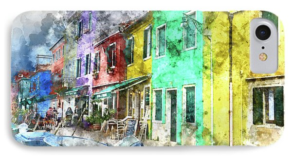 Colorful Street In Burano Near Venice Italy IPhone Case by Brandon Bourdages