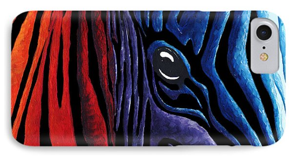 Colorful Stripes Original Zebra Painting By Madart In Black Phone Case by Megan Duncanson
