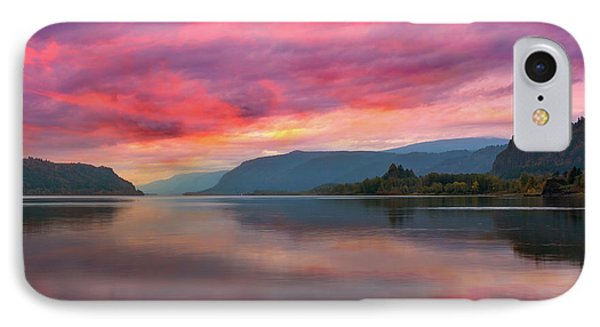 Colorful Sunrise At Columbia River Gorge Phone Case by David Gn