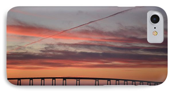 Colorful Sunrise Over Navarre Beach Bridge IPhone Case by Jeff at JSJ Photography