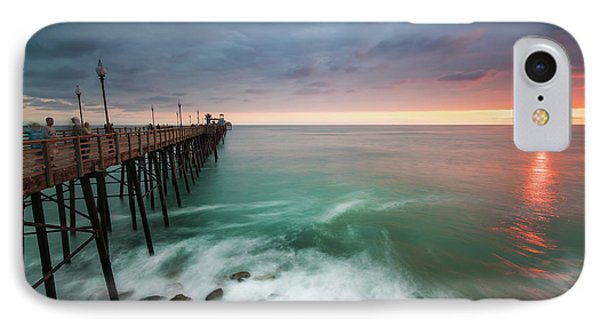 Pacific Ocean iPhone 7 Case - Colorful Sunset At The Oceanside Pier by Larry Marshall