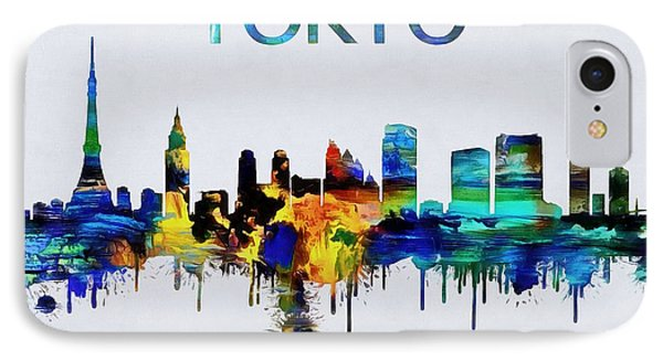 Colorful Tokyo Skyline Silhouette IPhone 7 Case by Dan Sproul
