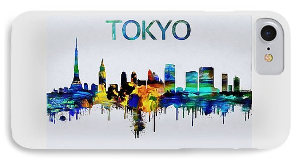 Colorful Tokyo Skyline Silhouette IPhone Case by Dan Sproul