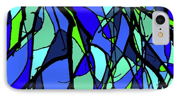 Colorful Tree Abstract Blue IPhone Case