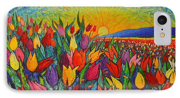Colorful Tulips Field Sunrise - Abstract Impressionist Palette Knife Painting By Ana Maria Edulescu IPhone Case by Ana Maria Edulescu