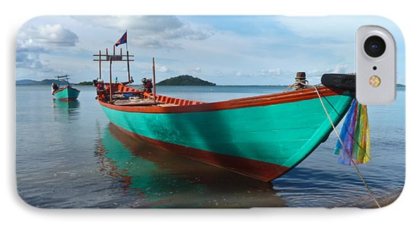 Colorful Turquoise Boat Near The Cambodia Vietnam Border IPhone Case by Jason Rosette
