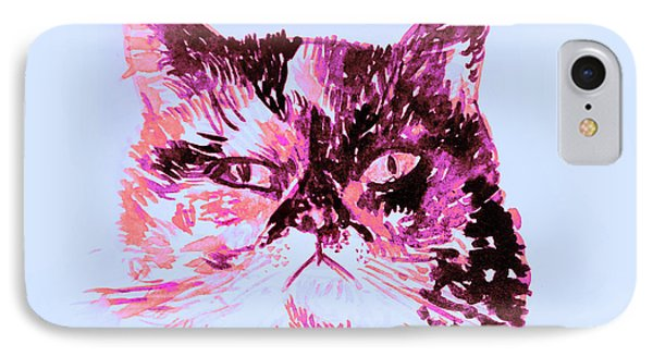 Colorful Watercolor Of Cat IPhone Case by Oana Unciuleanu
