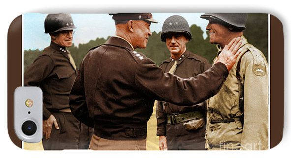 colorization WW2 Eisenhower IPhone Case by John Wills