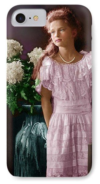 Colorized Vintage Portrait Of The Grad Duchess Tatiana IPhone Case by Alex Lim